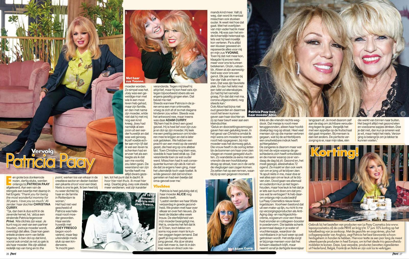 Patricia Paay in de Telegraaf zomer 2021